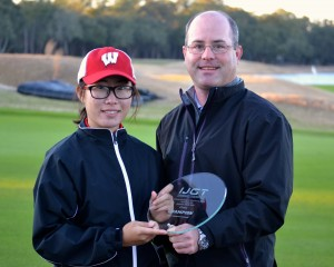 Zeng with her trophy following her win at the Carolina Classic at Colleton River Plantation