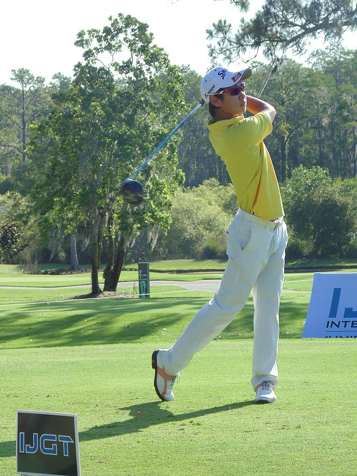 Shiso Go teeing off at the Bridgestone Golf Tournament of Champions May 24, 2015.