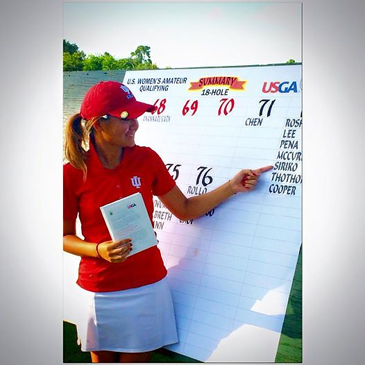 Pear points to her name on the scoreboard after qualifying for the U.S. Women's Am