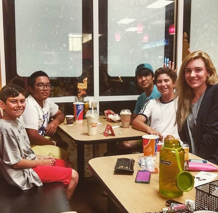 Campers smile during a trip to Dairy Queen