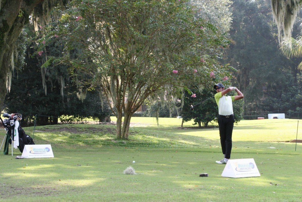 Saptak Talwar tees off during the HJGT Golden Bear Junior Challenge.