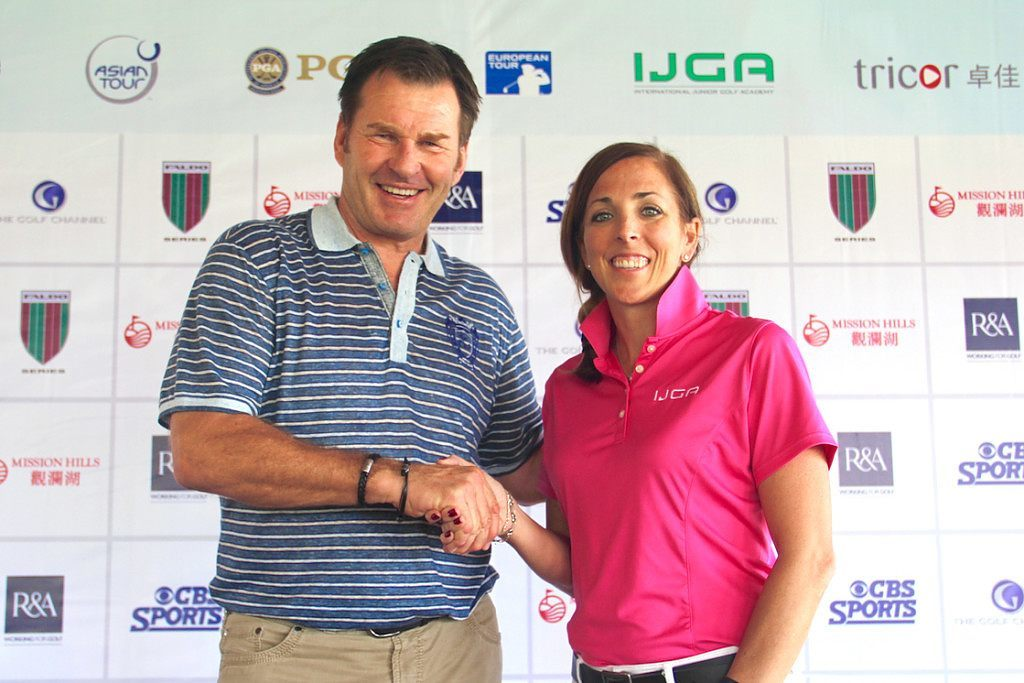 Sir Nick Faldo and Ryley Hendry