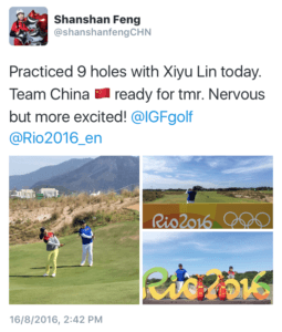 Shan Shan took to the course with fellow Chinese player Xiyu Lin.