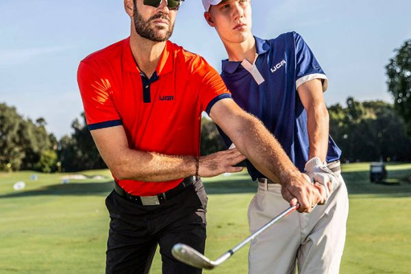 male golfer learning to swing and grip