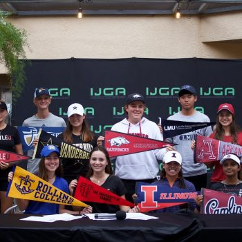 IJGA College Signers Class of 2021 holding college pennants